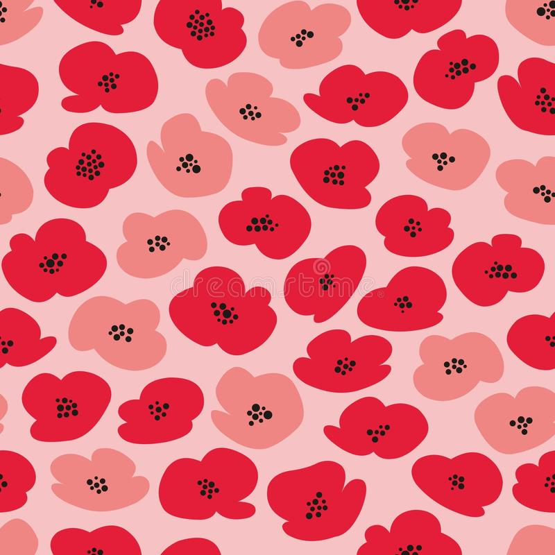 Vector seamless pattern with stylized poppies vector illustration