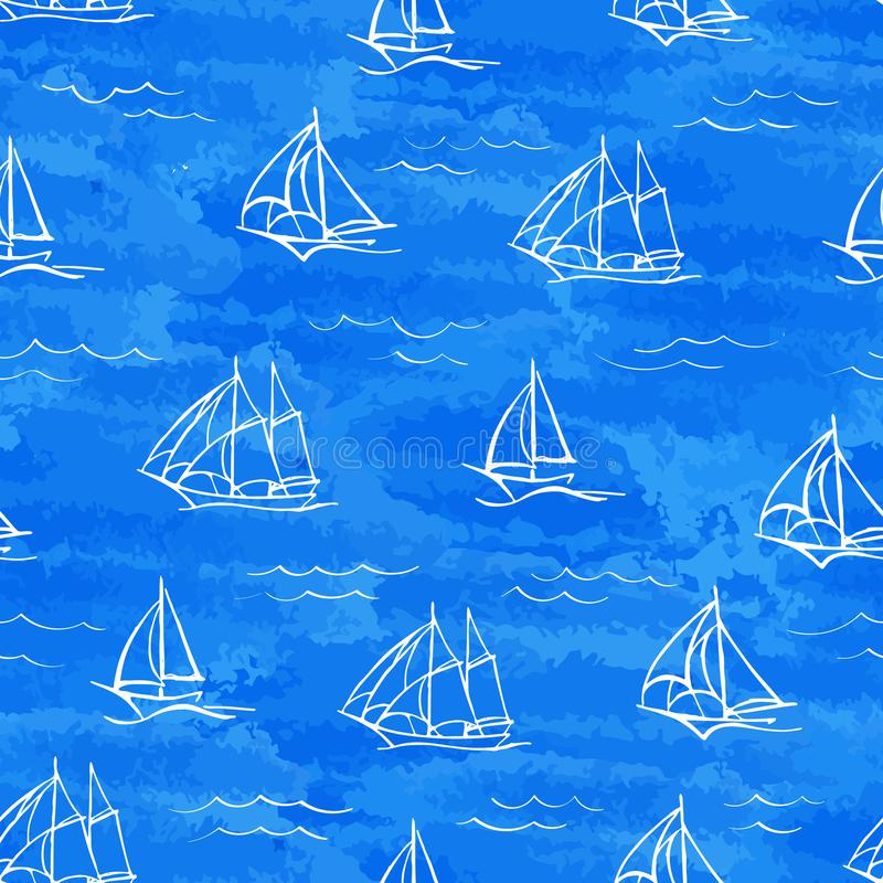 Vector seamless pattern of stylized watercolor waves and hand-drawn sailboats stock illustration