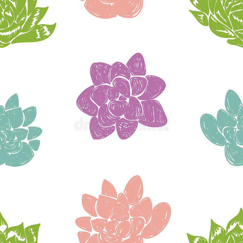 Download Vector Seamless Pattern With Succulent Cactus. Stock Vector - Image: 83708844