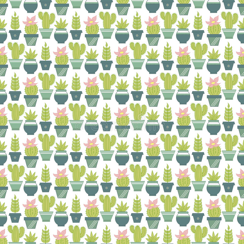 Vector seamless pattern with succulent plants and cactuses in po stock illustration