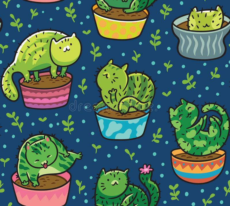 Vector seamless pattern with succulents and cactuses in the form of cats in pots. Vector illustration vector illustration