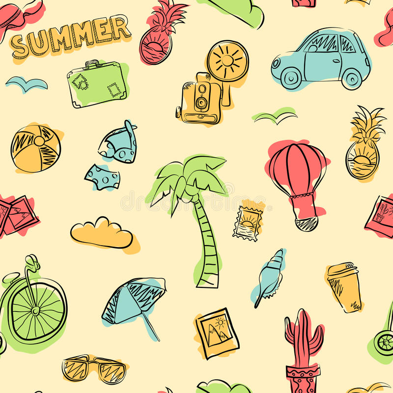 Vector seamless pattern of summer elements, such as bicycle, car, glasses, camera, swimsuit, pineapple, luggage, cactus royalty free stock images