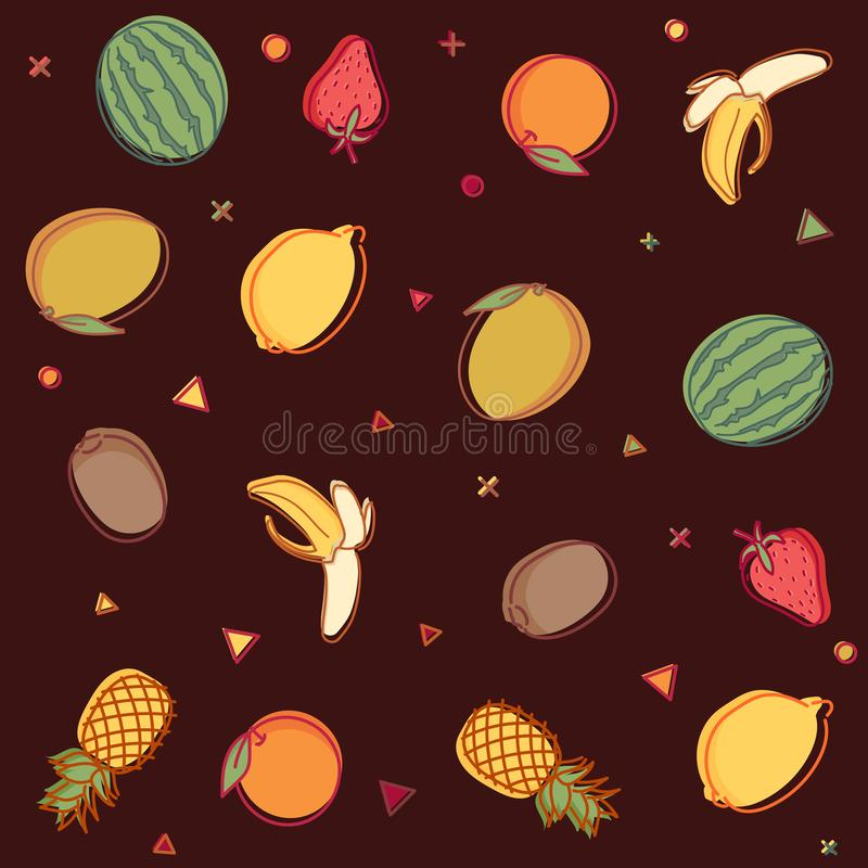 Vector seamless pattern with summer fruit outline doodles with watercolor effect. Lemons, pineapples, oranges, watermelons etc vector illustration