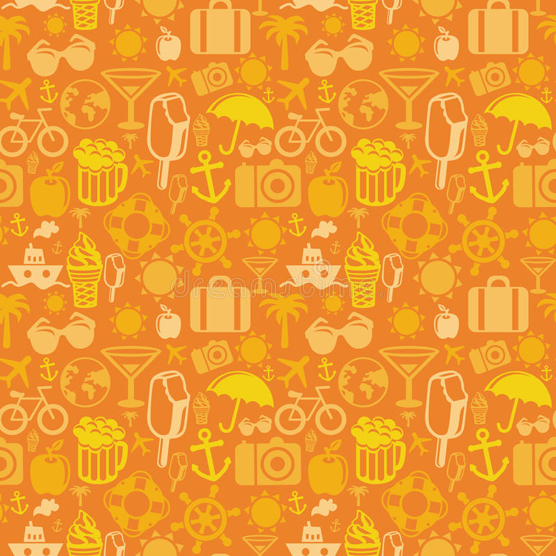 Vector seamless pattern with summer icons vector illustration