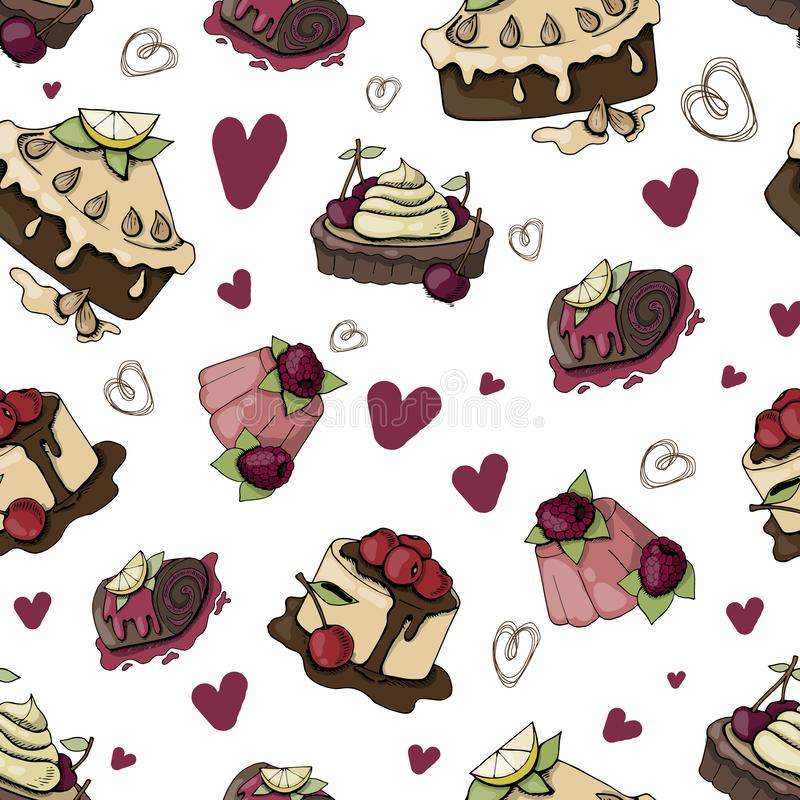 Vector desserts and sweets. Vector seamless pattern with sweets, desserts, cakes and pastries on white background, endless texture for fabric, wrappers royalty free illustration