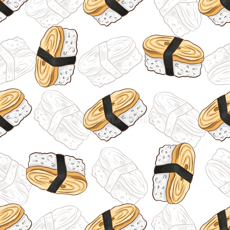 Vector seamless pattern. Tamago Nigiri Sushi with wasabi, color and sketch vector illustration