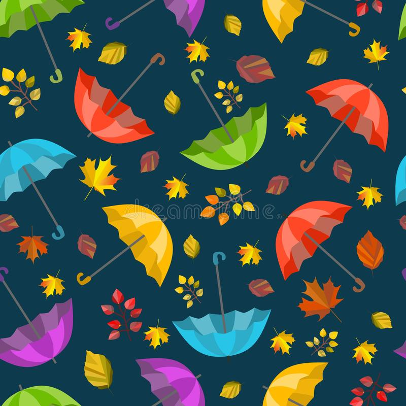 Vector seamless pattern, texture with colorful umbrellas and leaves. Autumn design. Cartoon, cute print. royalty free illustration