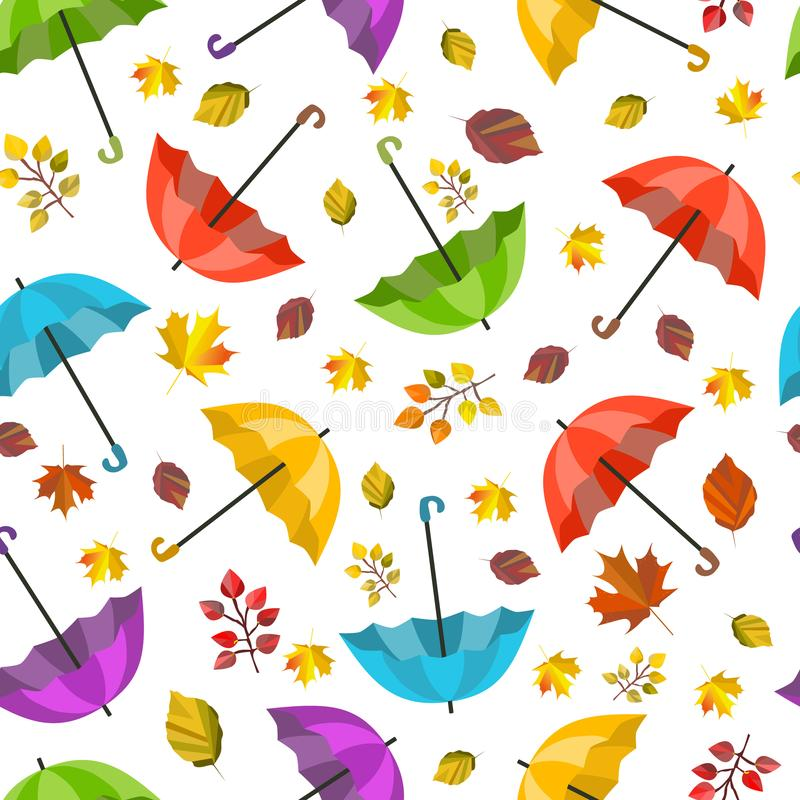 Vector seamless pattern, texture with colorful umbrellas and leaves. Autumn design. Cartoon, cute print. Autumn colors. Fall design stock illustration