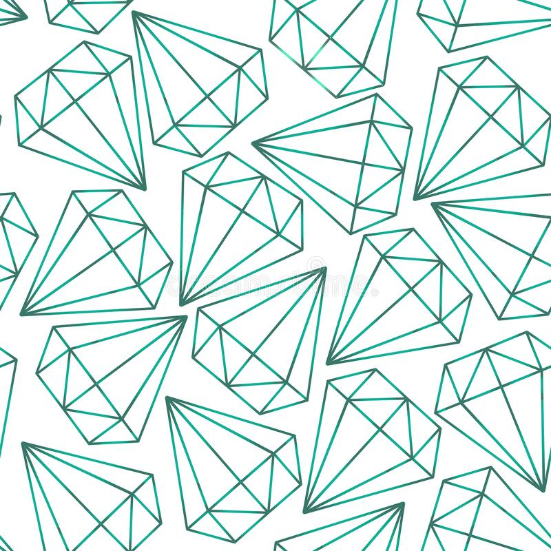 Vector seamless pattern, texture with crystals, diamonds, gems. Contours. stock illustration