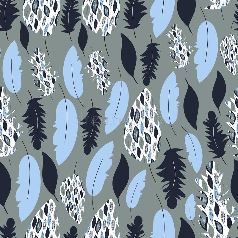 Vector seamless pattern,texture. Hand drawn feathers. Feather print. Nordic colors. vector illustration
