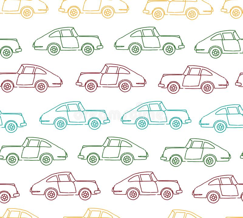 Vector seamless pattern of textured retro cars stock illustration