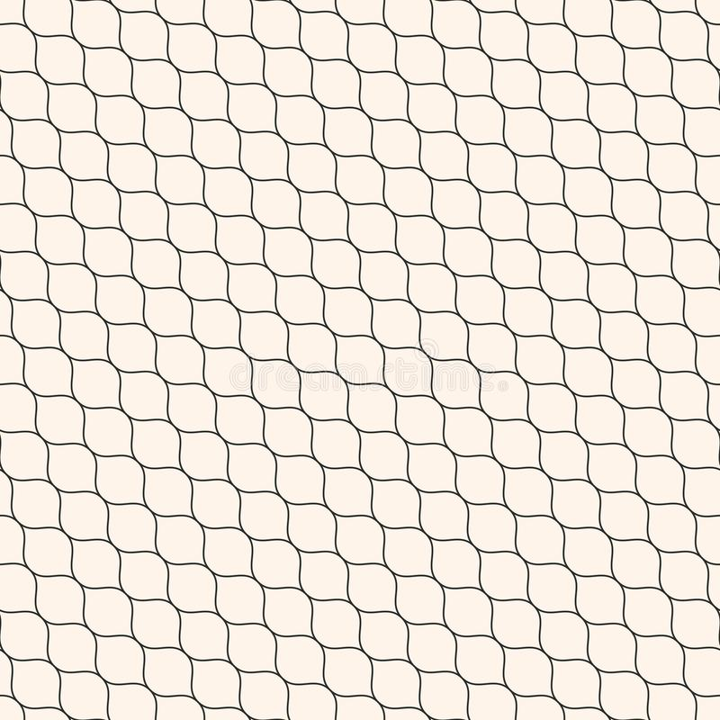 Vector seamless pattern, thin diagonal wavy lines, mesh texture. Vector seamless pattern, thin diagonal wavy lines. Subtle texture of mesh, fishnet, lace royalty free illustration