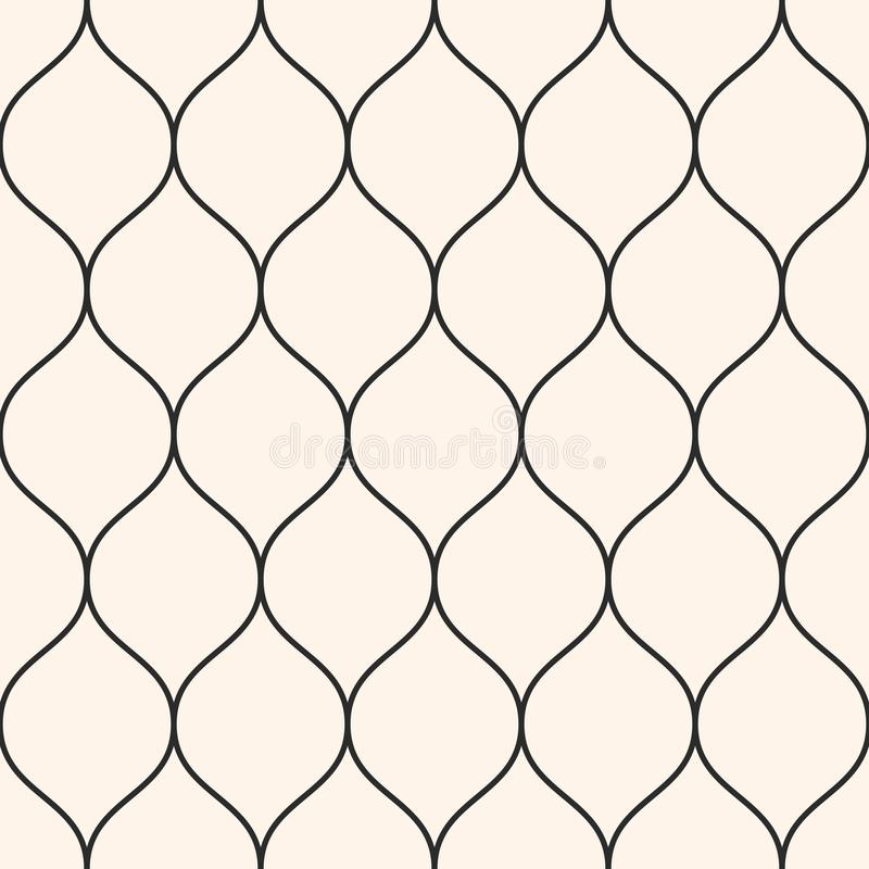 Vector seamless pattern, thin wavy lines. Vertical mesh texture. Vector seamless pattern, thin wavy lines. Texture of mesh, fishnet, lace, weaving, smooth grid royalty free illustration