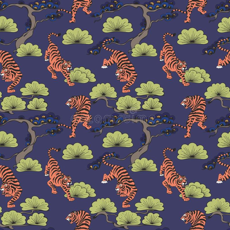 Vector seamless pattern with tigers in Japanese style. Hand drawing. Decorative background for design. And decoration of fabric, home textiles, wallpapers royalty free illustration