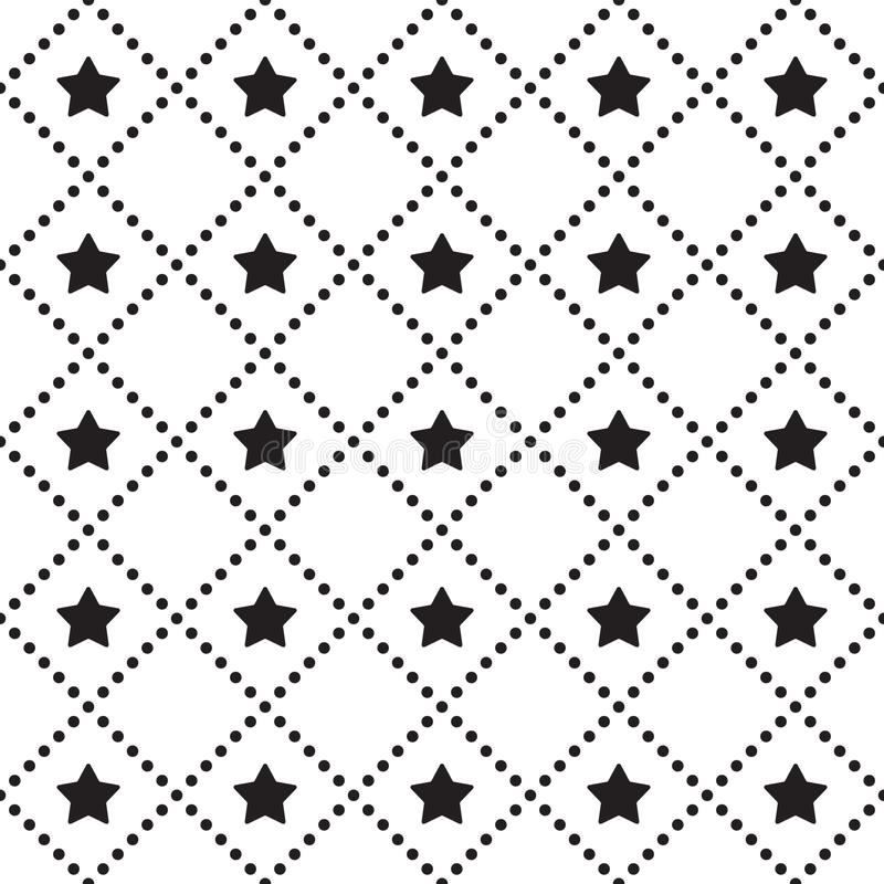 Vector seamless pattern. Tiled square background with monochrome star icon and dotted lines. vector illustration