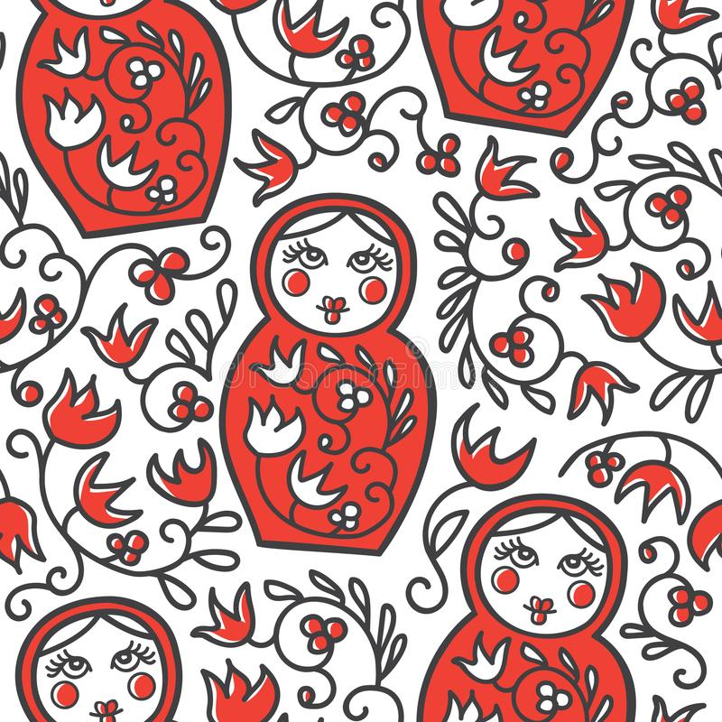 Vector seamless pattern with traditional russian doll matryoshka and floral ornament. Vector seamless pattern with traditional russian floral ornament and vector illustration