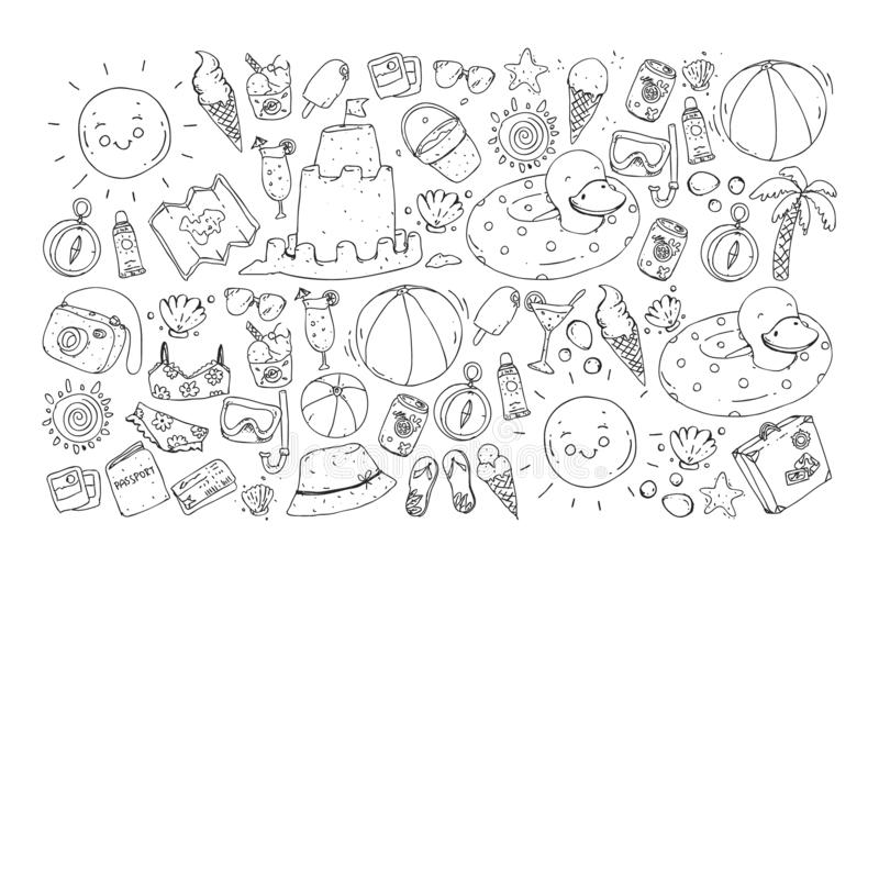 Vector seamless pattern with travel and beach icons. vector illustration