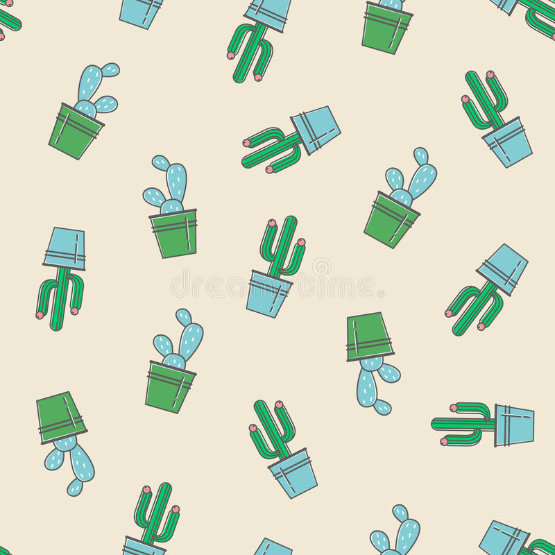 Download vector seamless pattern with trendy cactus print stock vector illustration of illustration