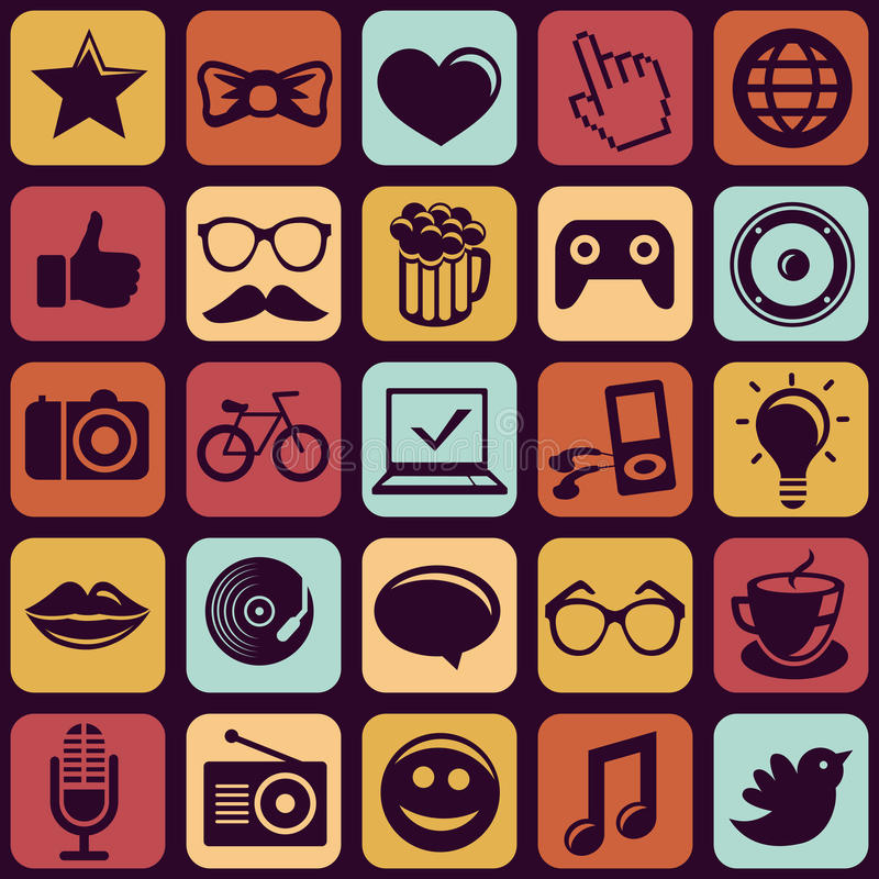 Download Vector Seamless Pattern With Trendy Hipster Icons Stock Vector - Illustration of idea, bow: 30494063