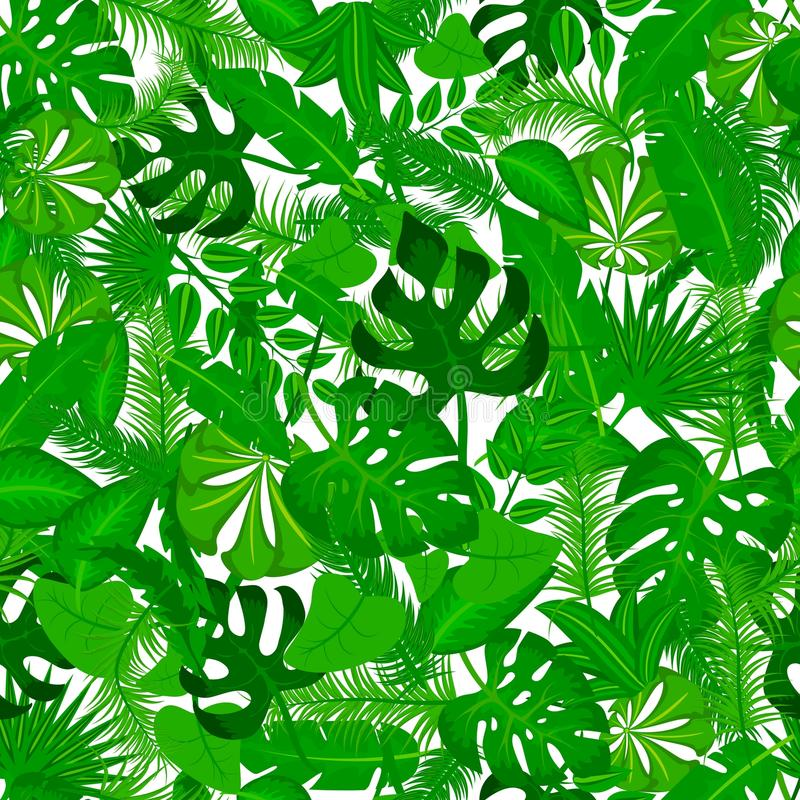 Vector seamless pattern with tropical leaves. Cute bright and fun summer floral background. Jungle leaf, exotic palm vector illustration