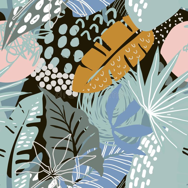 Vector seamless pattern with tropical plants and hand drawn abstract textures. stock illustration