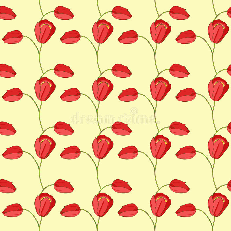 Vector seamless pattern with tulips and leaves stock photos