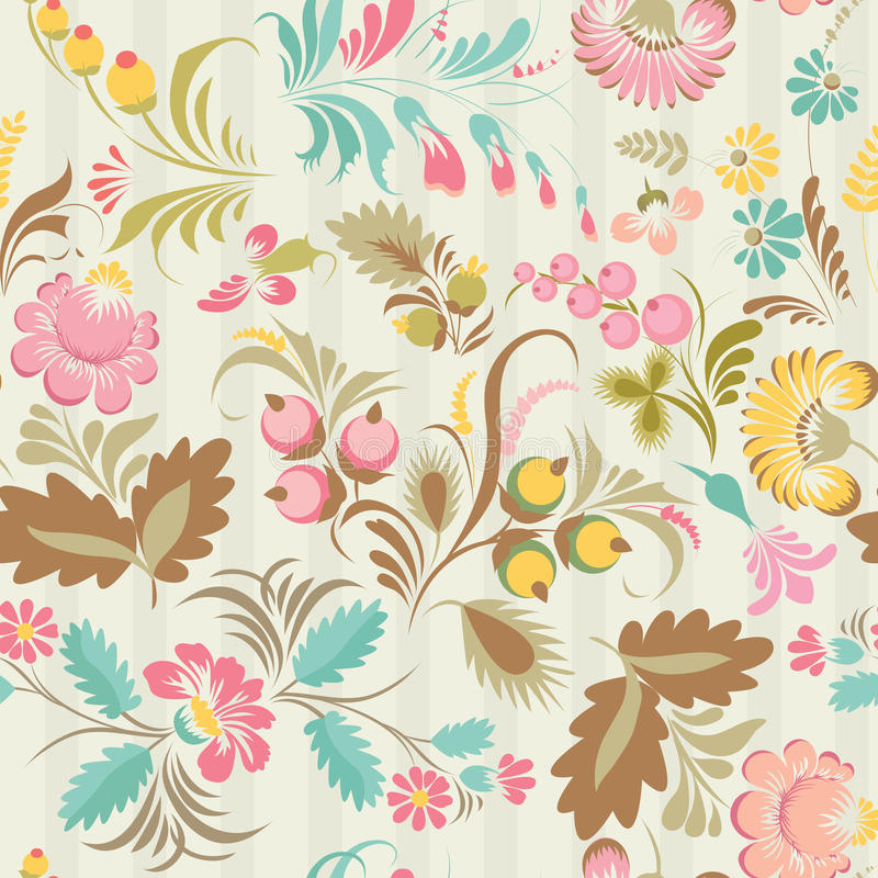 Vector seamless pattern in Ukrainian folk style royalty free illustration