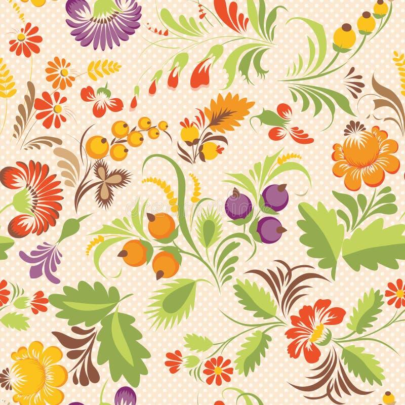Vector seamless pattern in Ukrainian folk style. Stock vector seamless pattern with elements of floral ornament in folk style (Ukrainian folk art). Ethnic royalty free illustration