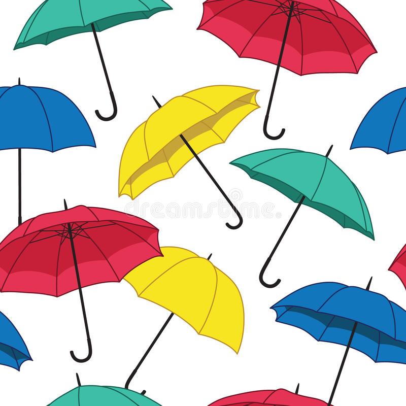 Vector seamless pattern with umbrellas.  vector illustration
