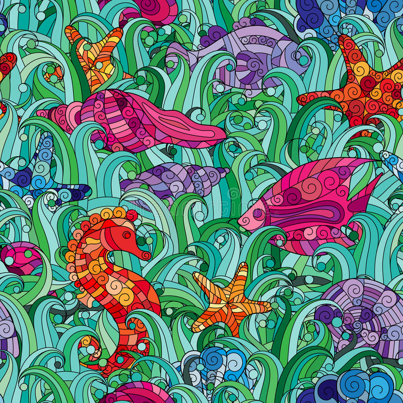Vector seamless pattern Underwater creatures. Ocean background. Vector seamless pattern with hand drawn fishes, starfish, shells, seaweeds and sea-horse stock illustration