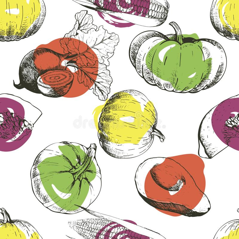 Vector seamless pattern of vegetables. Pumpkin, corn, beetroot, avocado. Hand drawn engraved vintage illustration. royalty free illustration