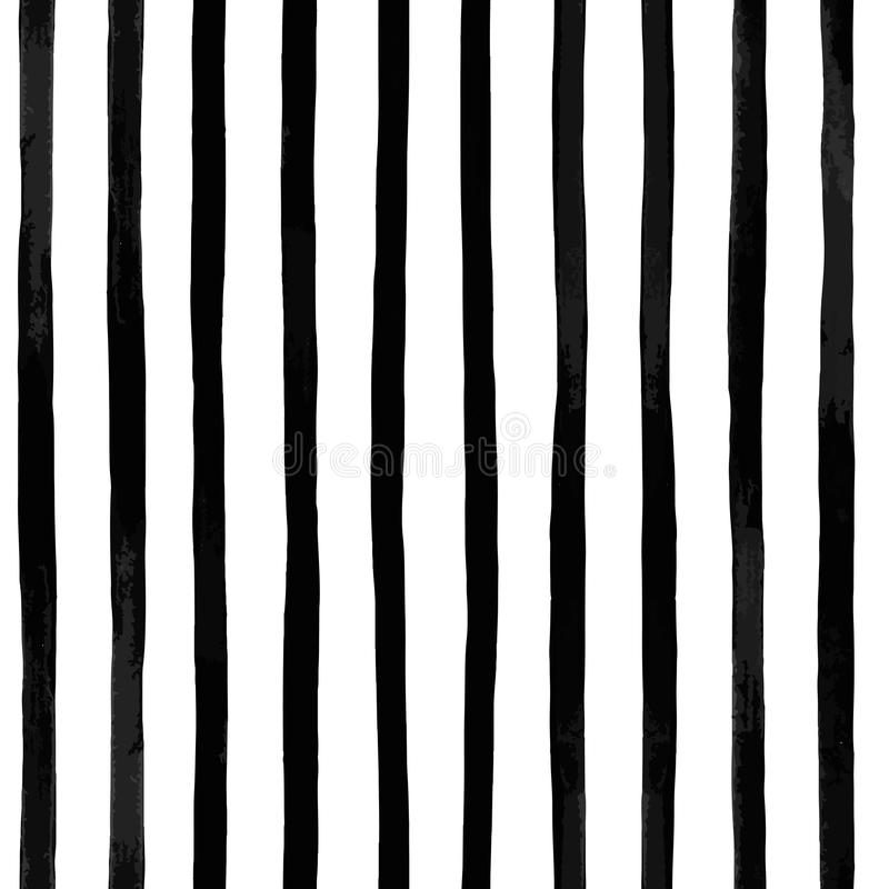 vector seamless pattern with vertical black and white striped. Vintage textured background stock illustration