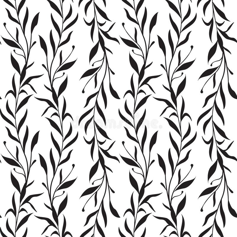 Vector seamless pattern with vertical branches with leaves. royalty free illustration