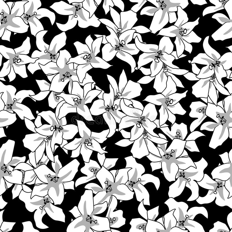 Floral Seamless Pattern White Flowers On Black Backgroundvintage Decoration Wallpaper