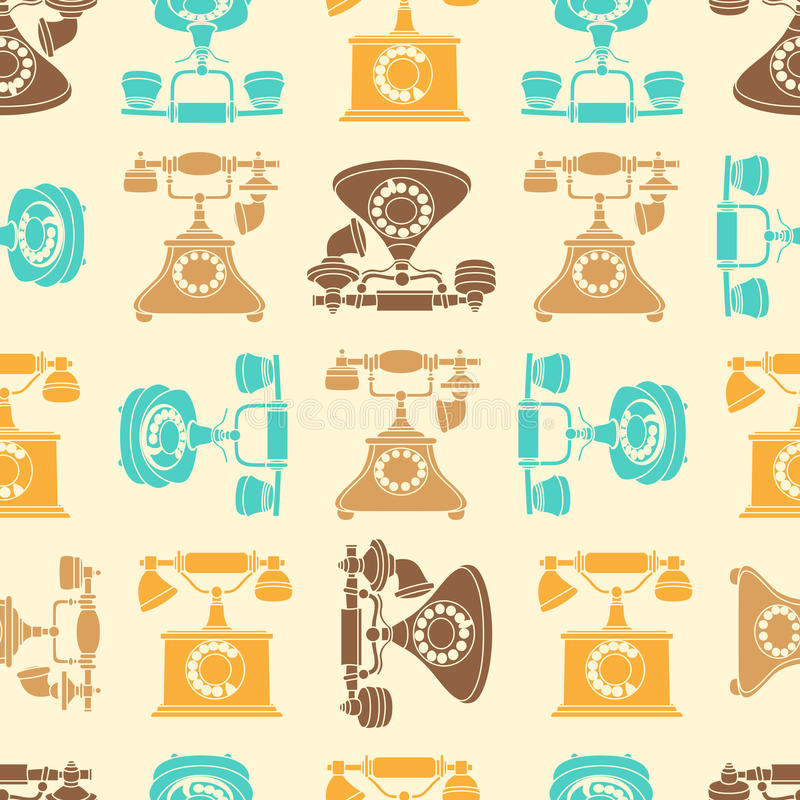 Vector seamless pattern with vintage phone in color royalty free illustration