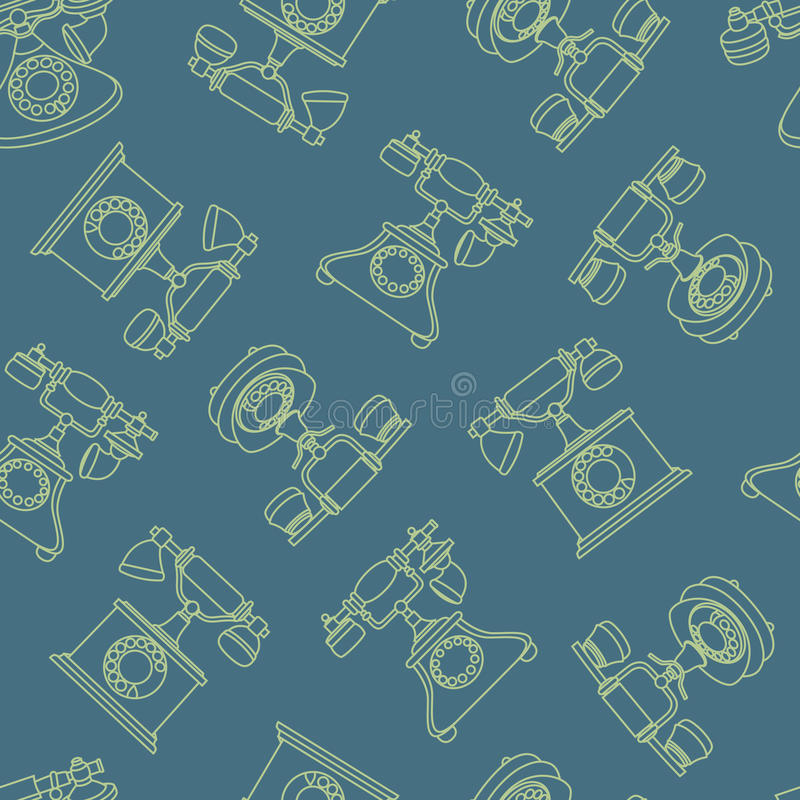 Vector seamless pattern with vintage phone in line vector illustration