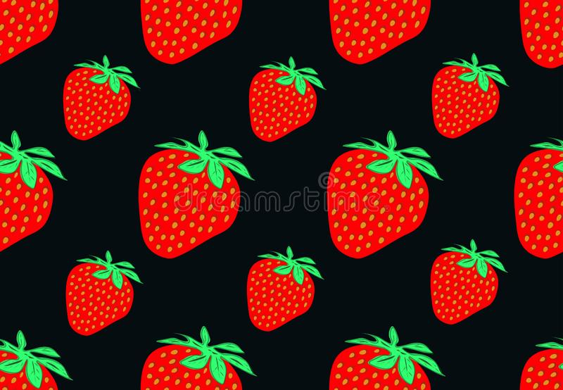 Vector seamless pattern with vivid delicious strawberries.Black background. royalty free illustration