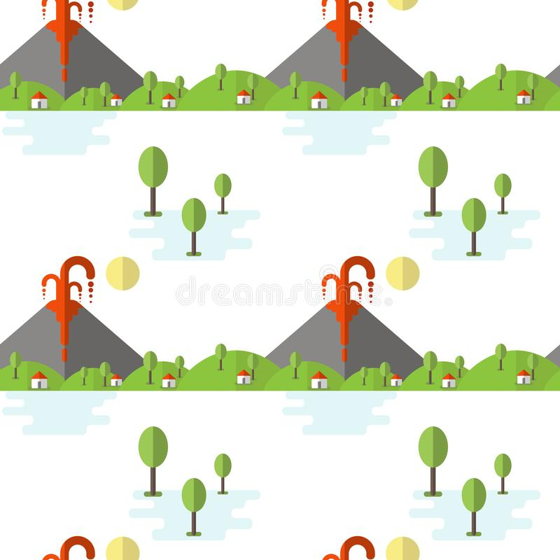 Vector seamless pattern volcanic eruption. Smoke and lava from the crater, the village and trees at the foot. Used for postcards,. Websites, posters, wallpapers stock illustration