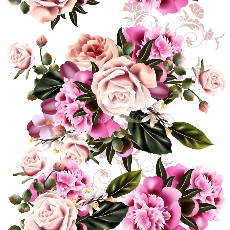 Antique Styled Floral Pattern With Realistic Peony Flowers And Ro