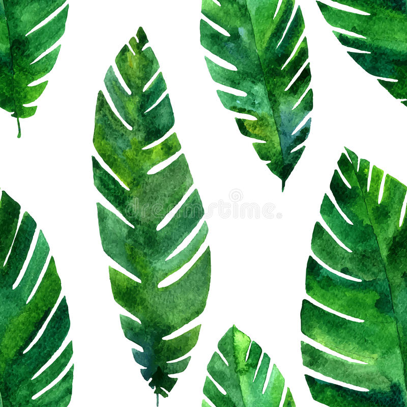 Vector seamless pattern with watercolor green leaves vector illustration