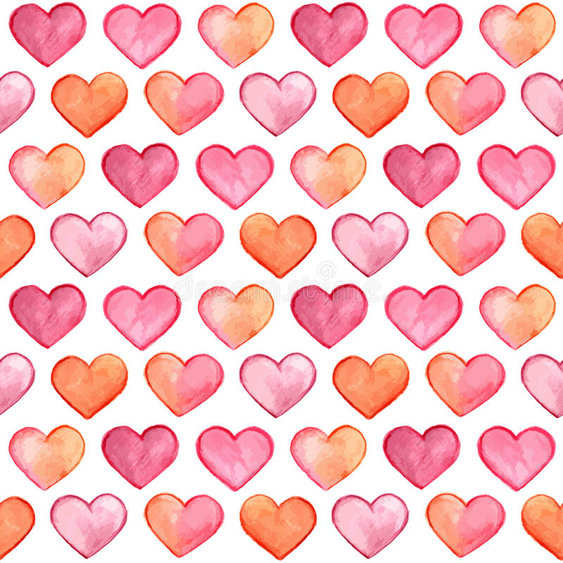 Vector Seamless Pattern with Watercolor Hearts royalty free illustration