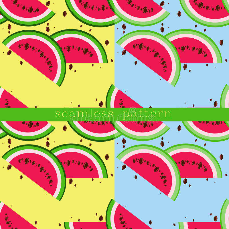 Vector seamless pattern with watermelon slices. vector illustration