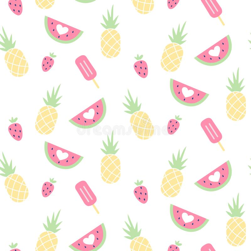 Vector seamless pattern with watermelon, Strawberry, ice cream and pineapple. stock illustration