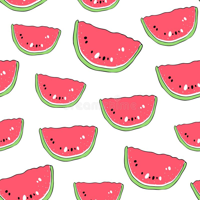 Vector seamless pattern with watermelons. Scandinavian motives. Drawing by hand. Cute print. Vector seamless pattern with watermelons. Scandinavian motives vector illustration
