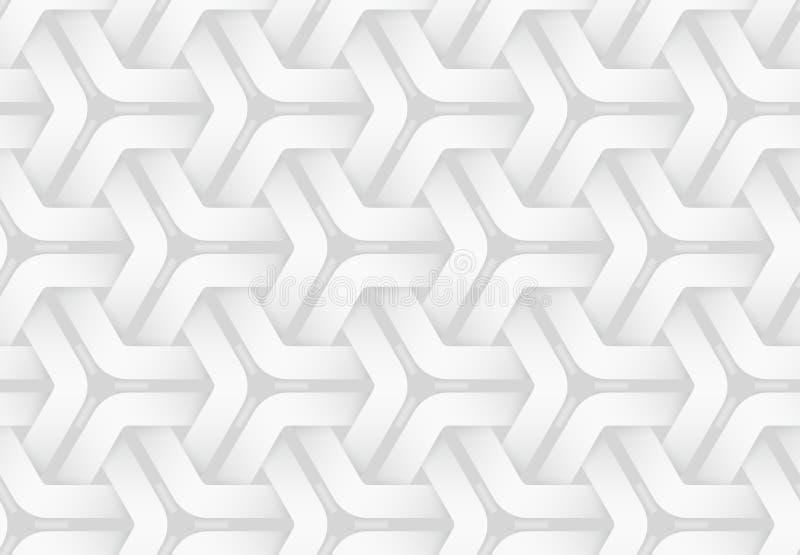 Vector seamless pattern of weaved hexagonal bands 白色纹理图 库存例证