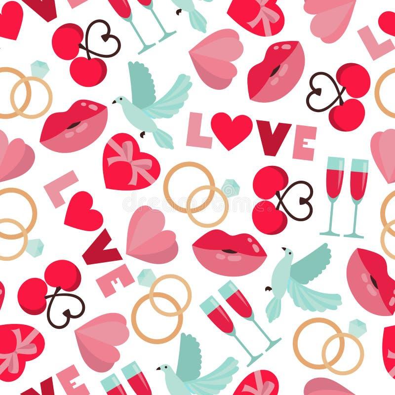 Vector seamless pattern of wedding and love symbols vector illustration