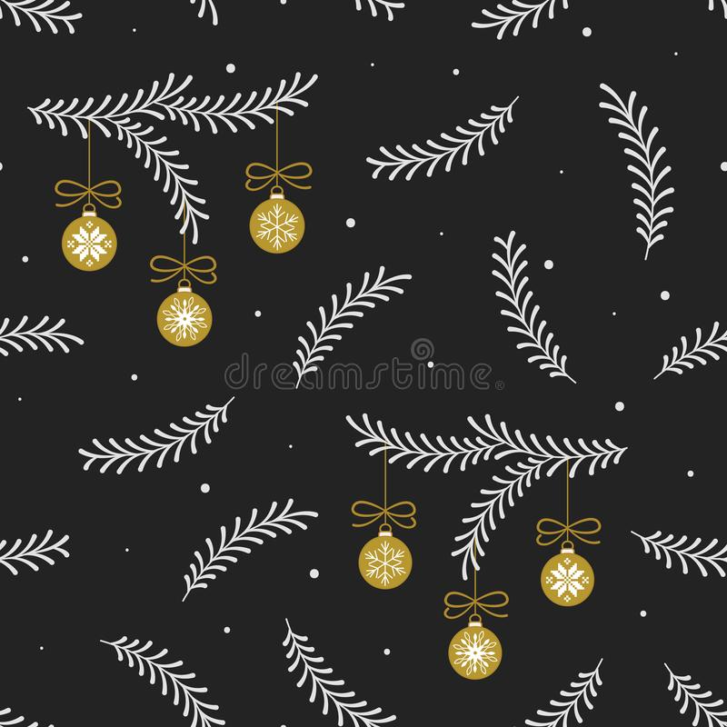 Vector seamless pattern with white сhristmas tree branches and gold christmas balls on black background. vector illustration