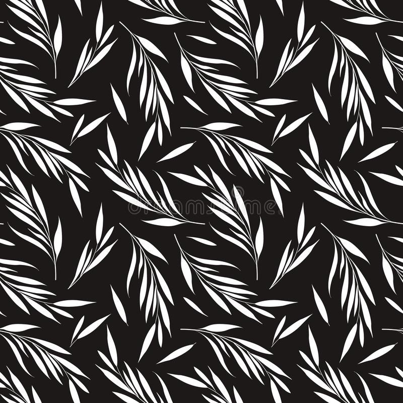 Vector seamless pattern with white floral elements on black background. royalty free illustration