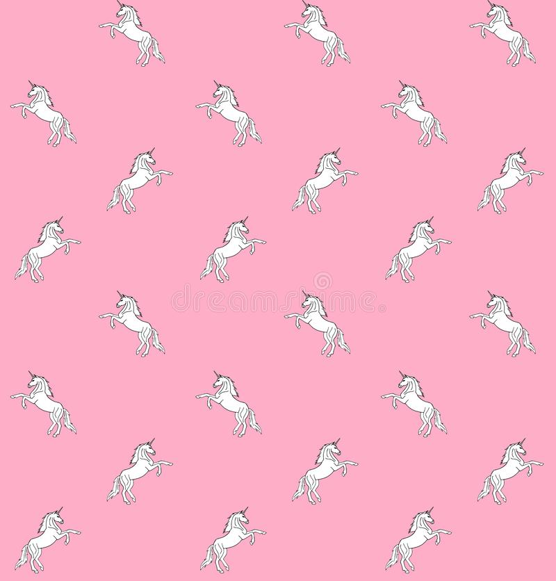 Vector seamless pattern of white hand drawn doodle sketch unicorn on pastel pink background stock illustration