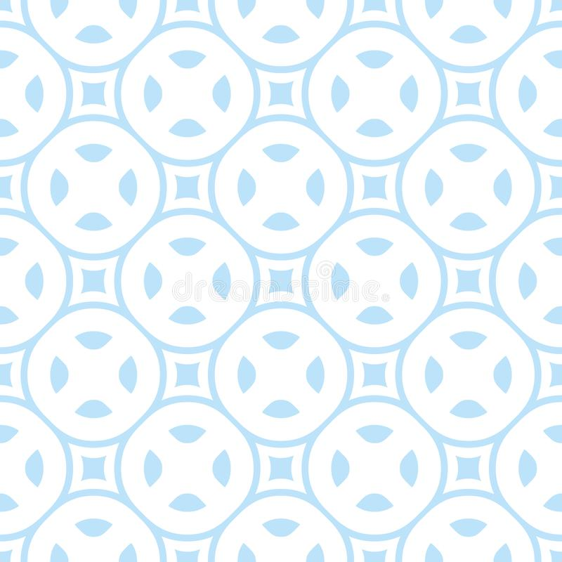 Vector seamless pattern in white and light blue colors. Simple geometric texture royalty free illustration